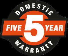 5 Year Domestic Warranty