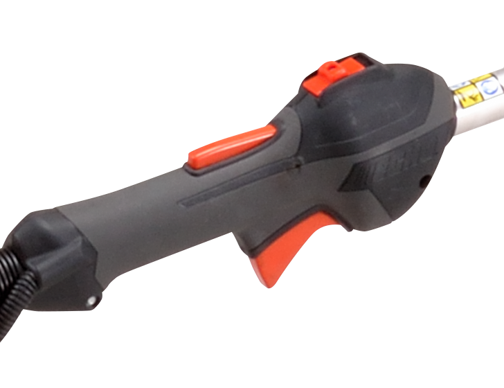 In-line handle with rubber grip